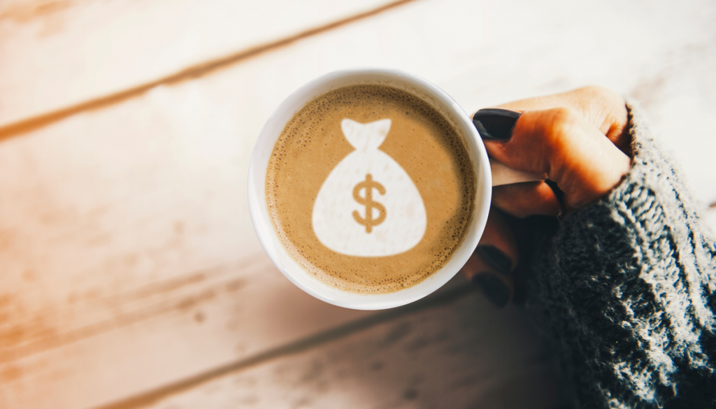 Coffee cup with money bag. Real Estate in Germantown, WI | House to Home Realty Team
